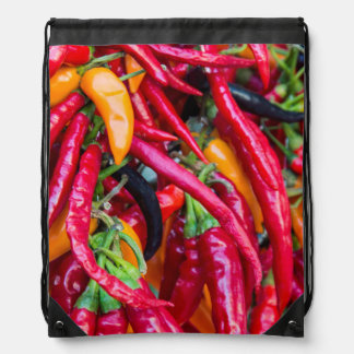 Hot Chili Peppers At Farmers Market In Madison Drawstring Bag
