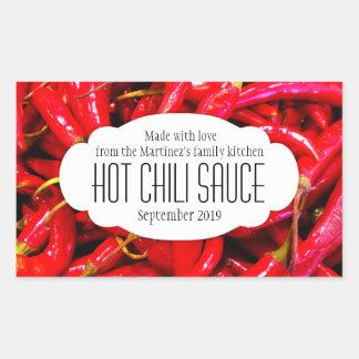Hot chili sauce or chili food label sticker