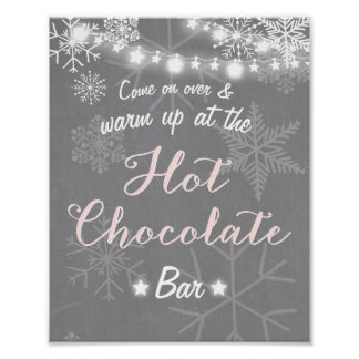 Hot Chocolate Bar Sign Pink Girl snowflakes