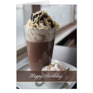 hot chocolate birthday greeting card
