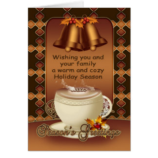 Hot Chocolate Christmas Card Bells And Holly