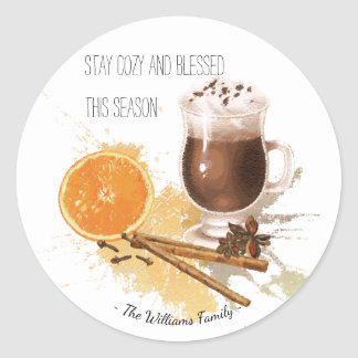 Hot Chocolate Cinnamon Orange Season Greetings Classic Round Sticker
