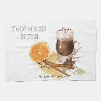 Hot Chocolate Cinnamon Orange Season Greetings Kitchen Towel