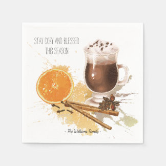 Hot Chocolate Cinnamon Orange Season Greetings Paper Napkin