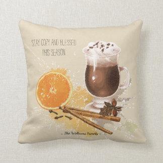 Hot Chocolate Cinnamon Orange Season Greetings Throw Pillow