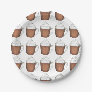 Hot Chocolate Cocoa Winter Holiday Christmas Plate 7 Inch Paper Plate