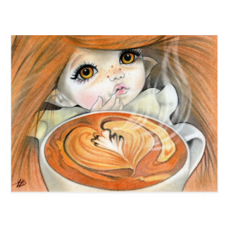 Hot chocolate fairy postcard