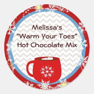 Hot Chocolate Gift Tag Round Sticker