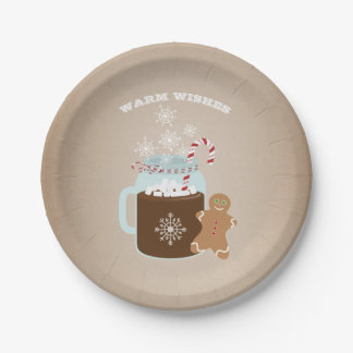 Hot Chocolate Gingerbread Man Christmas 7 Inch Paper Plate