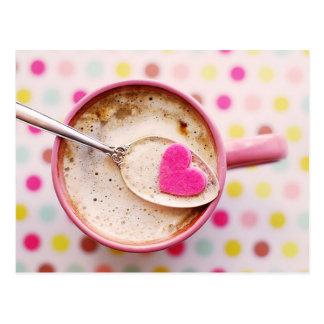 Hot chocolate pink heart candy polka dots Postcard