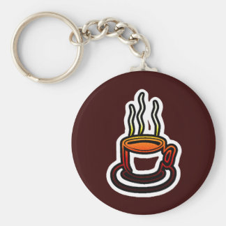 Hot Cocoa Coffee Cup Basic Round Button Keychain