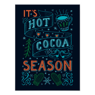 Hot cocoa season hand lettering quote poster