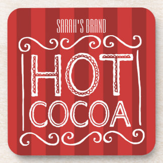 Hot Cocoa with Red Stripes Add Your Name Coaster
