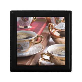 Hot coffee and retro crockery for breakfast gift box