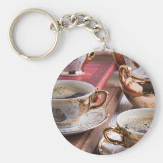 Hot coffee and retro crockery for breakfast keychain
