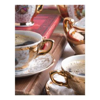 Hot coffee and retro crockery for breakfast letterhead