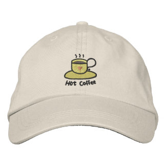 Hot coffee (black outline) embroidered baseball cap