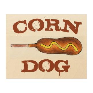Hot Corn Dog Carnival Corndog Junk Food Kitchen Wood Wall Art