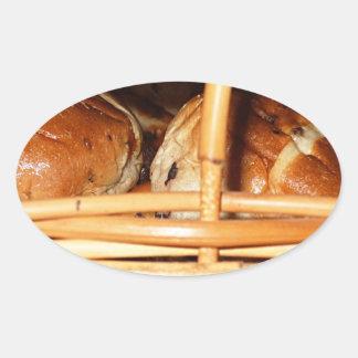 Hot Cross Buns Easter Basket #2 Oval Sticker