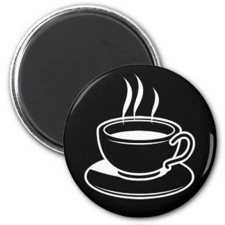 Hot Cup of Coffee - Black 2 Inch Round Magnet