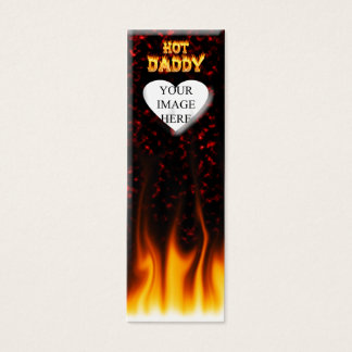 Hot Daddy fire and red marble heart Mini Business Card