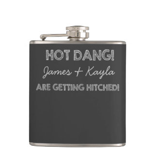 Hot Dang Chalkboard Wedding Hip Flask