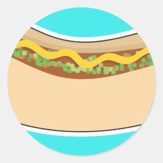 Hot Dog and Relish Round Sticker