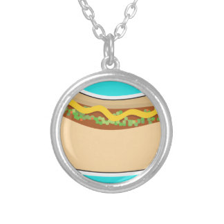 Hot Dog and Relish Silver Plated Necklace