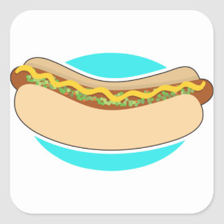 Hot Dog and Relish Square Sticker