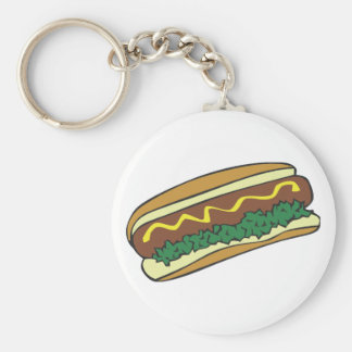 Hot dog basic round button keychain