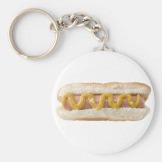 hot dog basic round button keychain