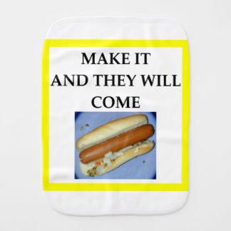 hot dog burp cloth