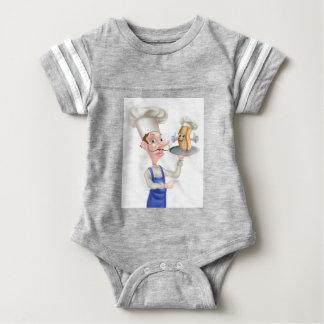 Hot Dog Cartoon Chef Pointing Baby Bodysuit
