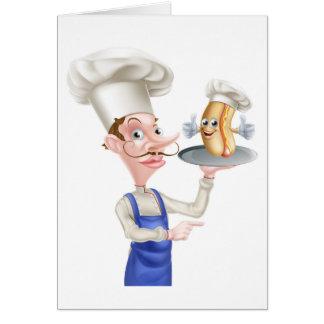 Hot Dog Cartoon Chef Pointing Card