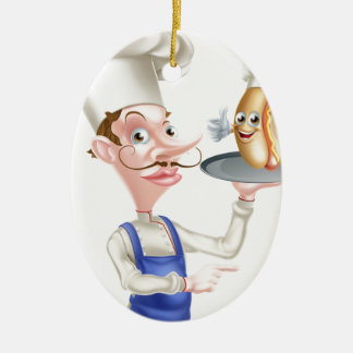 Hot Dog Cartoon Chef Pointing Ceramic Ornament
