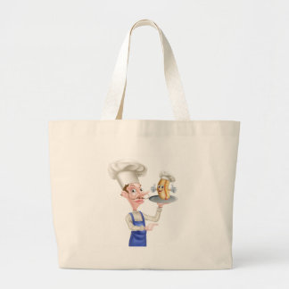 Hot Dog Cartoon Chef Pointing Large Tote Bag