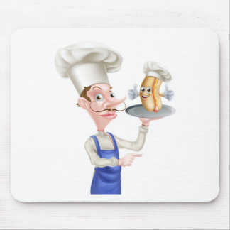 Hot Dog Cartoon Chef Pointing Mouse Pad