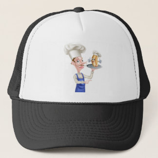 Hot Dog Cartoon Chef Pointing Trucker Hat