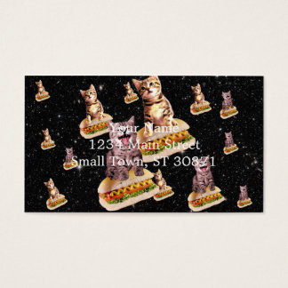 hot dog cat invasion business card
