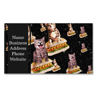 hot dog cat invasion business card magnet