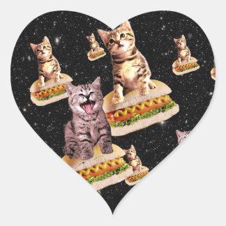hot dog cat invasion heart sticker