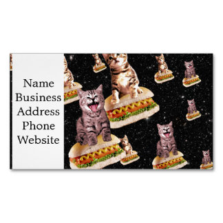 hot dog cat invasion magnetic business card