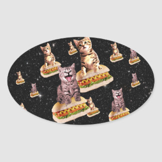 hot dog cat invasion oval sticker
