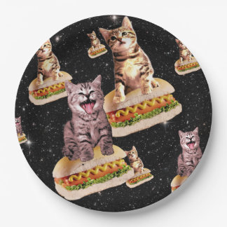 hot dog cat invasion paper plate