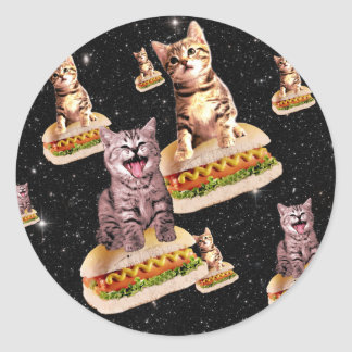 hot dog cat invasion round sticker