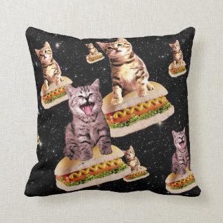 hot dog cat invasion throw pillow