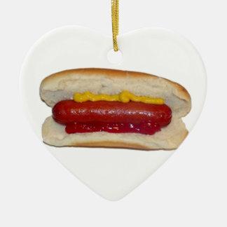 Hot Dog Ceramic Heart Ornament