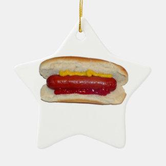 Hot Dog Ceramic Star Ornament