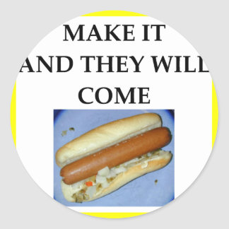 hot dog classic round sticker