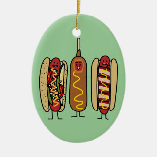 Hot Dog Friends Ceramic Ornament